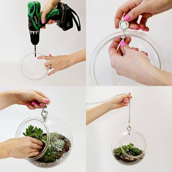 Arredare con le piante: vasetto con composizione piante grasse